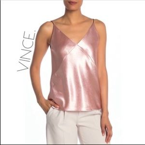 NWT Vince silky romantic pink cami tank top XL